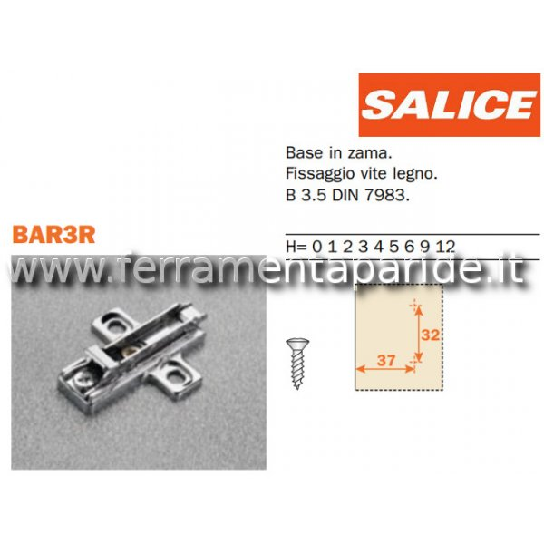 BASE REGOLABILE BAR3R39 H 3 CON CLIP SALICE