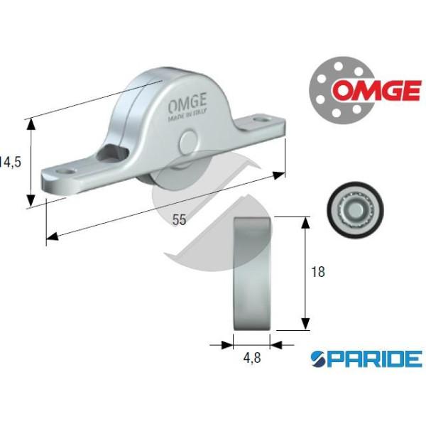 CARRELLO CON RUOTA PIANA D 18 MM 104 OMGE IN ACCIA...