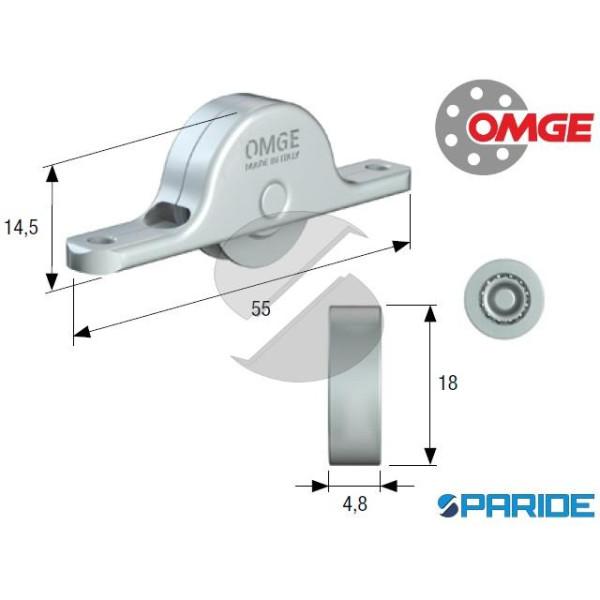 CARRELLO CON RUOTA PIANA D 18 MM 105 OMGE IN ACCIA...