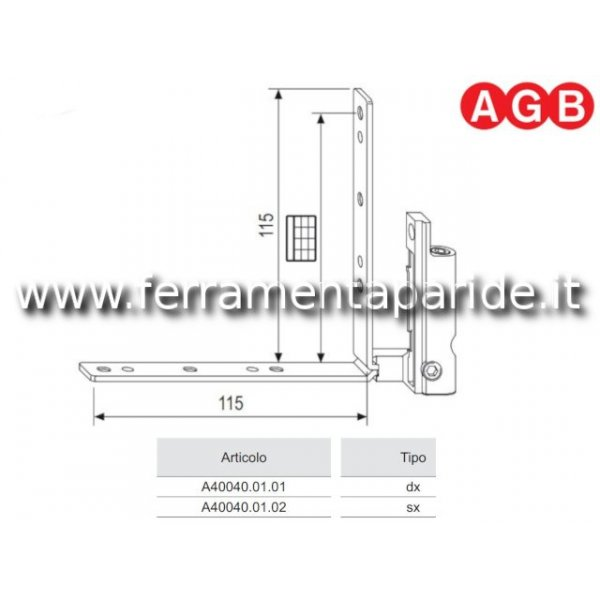 CERNIERA ANGOLARE A4 B15-18 INFERIORE DX AGB A4004...