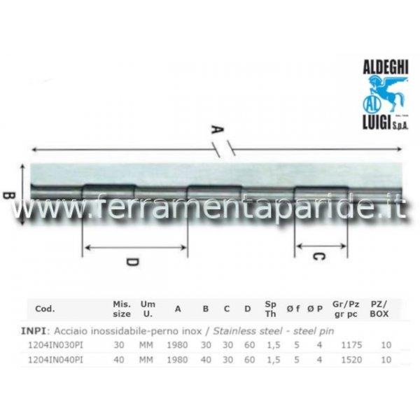 CERNIERA METRAGGIO 30X1980 MM PESANTE INOX CON FOR...