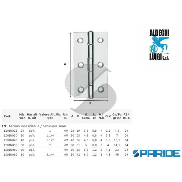 CERNIERA STRETTA 40 MM INOX 120IN040 ALDEGHI