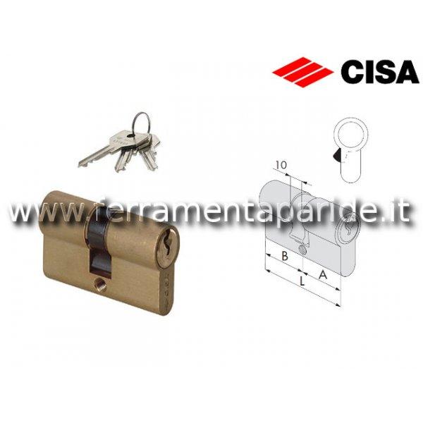 CILINDRO DOPPIO L 100 0G300 23 OTTONE CISA A=50 B=...