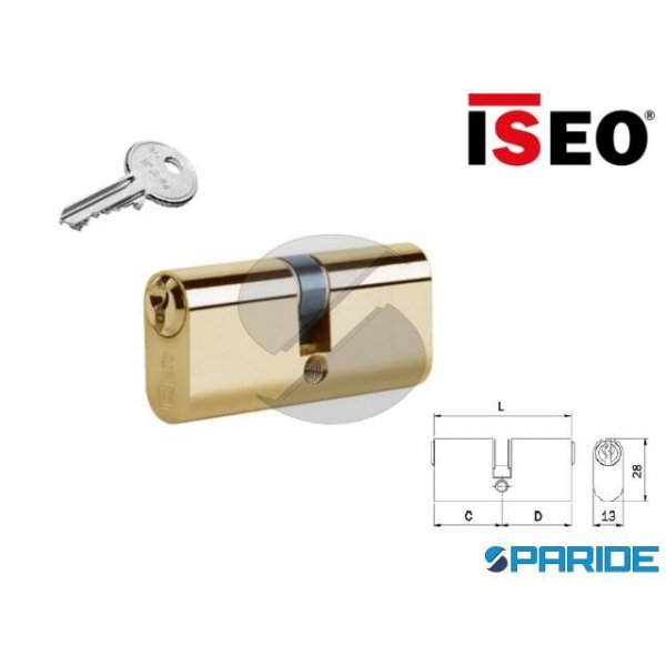 CILINDRO OVALE L 54 830027277 ISEO OTTONE C=27 D=2...