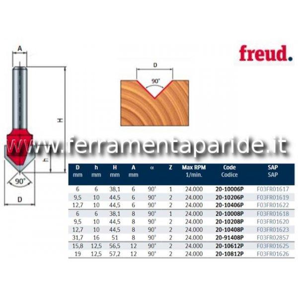FRESA HM D 12,7 MM 20-10408 PER INTAGLI A V LEGNO ...