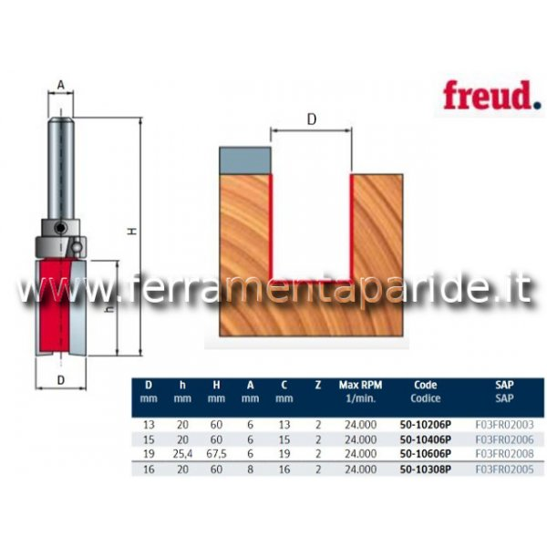 FRESA HM D 15 MM 20 50-10406 PER LEGNO FREUD