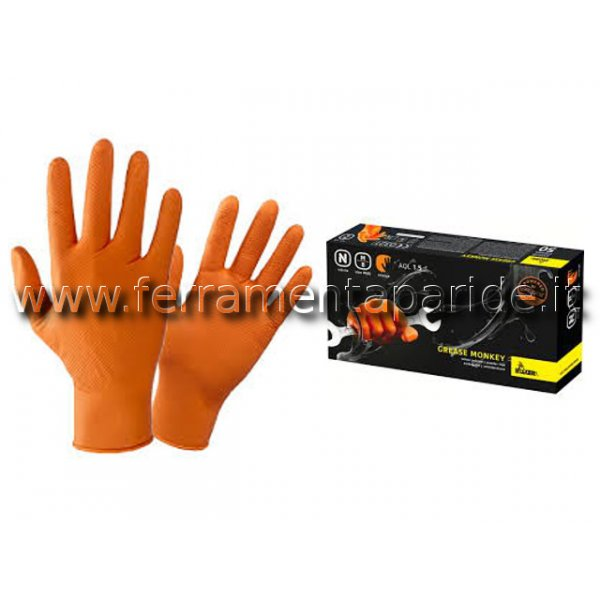 GUANTI NITRILE GREASE MONKEY ARANCIO TG XL PZ 50