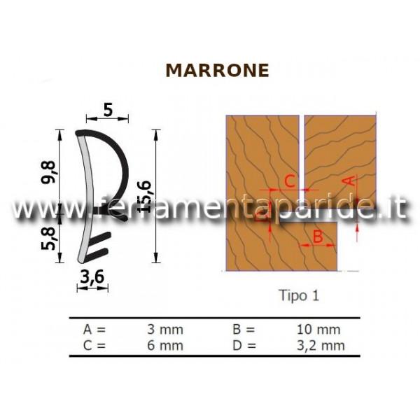 GUARNIZIONE A 093 K MARRONE PER PORTE INTERNE IN L...