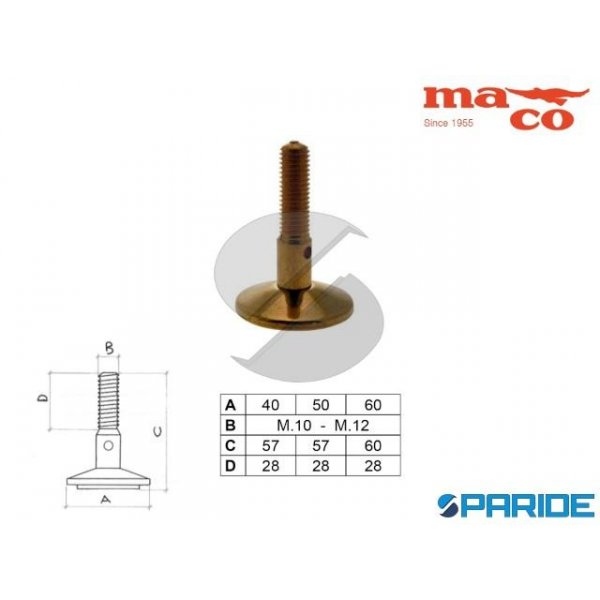 PIEDE D 50 M10 GIREVOLE OTTONE 0283 MACO
