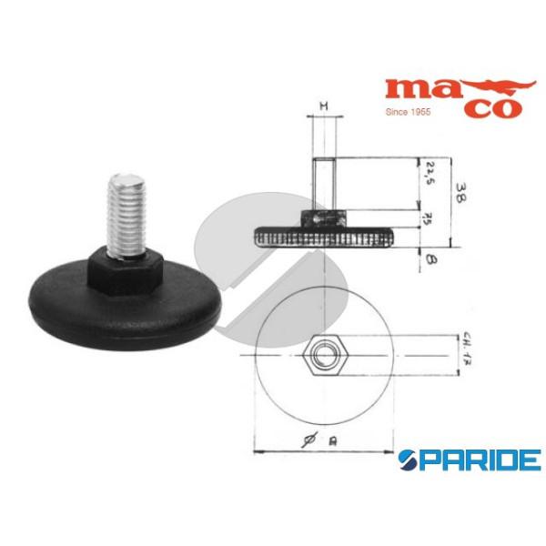 PIEDE D 50 M10 REGOLABILE PLASTICA NERO 0873 MACO