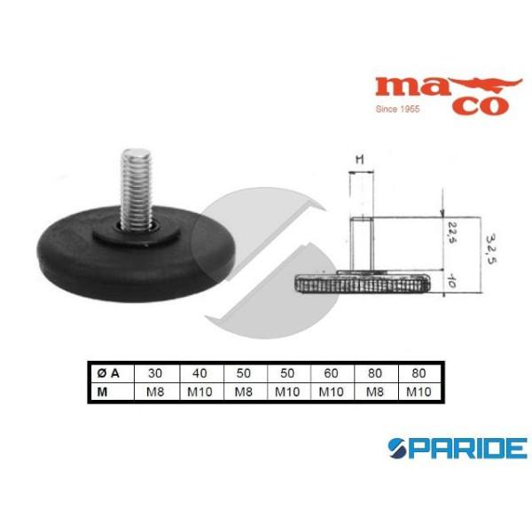 PIEDE D 50 M8 REGOLABILE PLASTICA NERO 0871 MACO