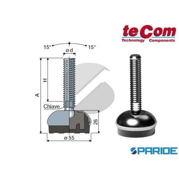 PIEDE SNODATO 113 INOX D 55 MM M10X107 TECOM