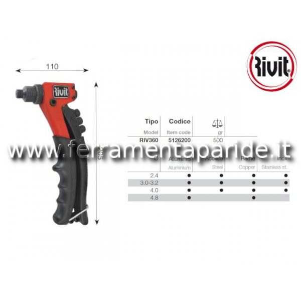 RIVETTATRICE MANUALE RIV18 RIVIT PER RIVETTI D 2,4...