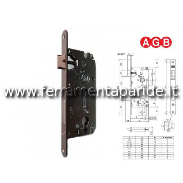 SERRATURA AGB E 50 D85 CILINDRO BRONZATA B TONDO F...