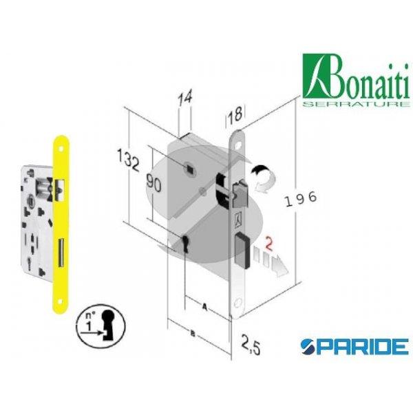 SERRATURA BONAITI E 50 F 18 OTTONE B TONDO 4825015...
