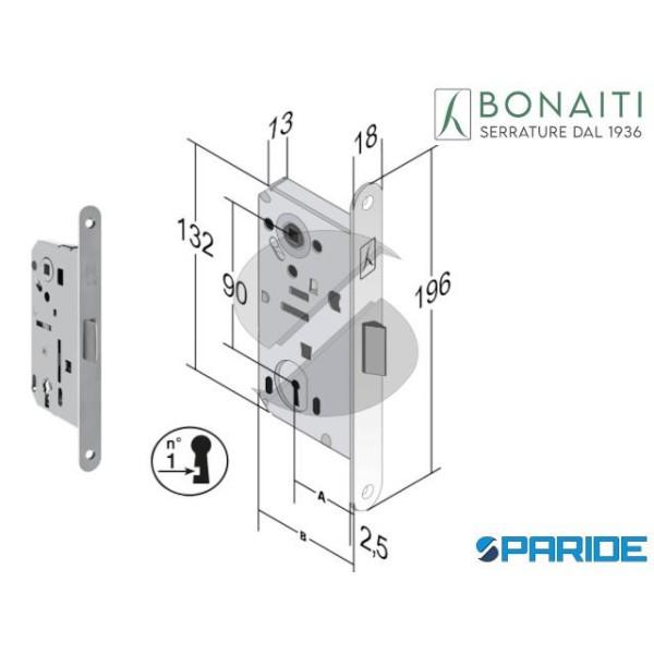 SERRATURA BONAITI E 50 T60 B BITTER CROMO OPACO F ...