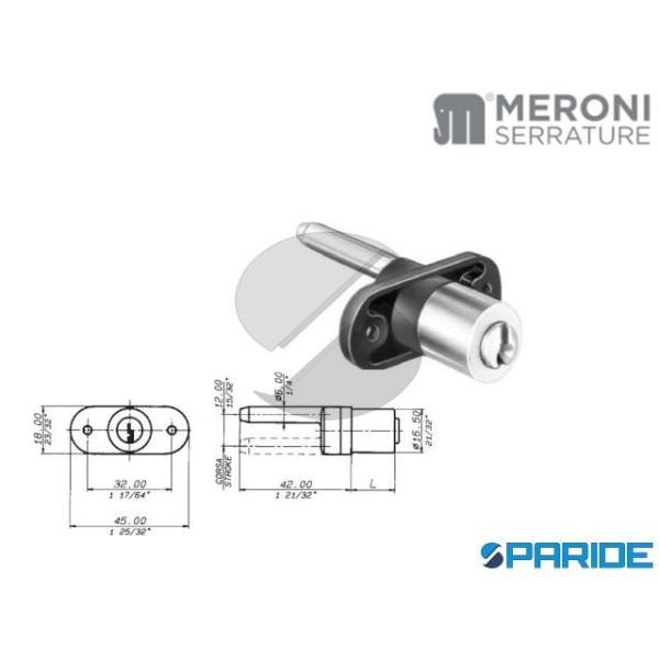 Serratura da applicare per cassetto Meroni 2131 cilindro mm.20