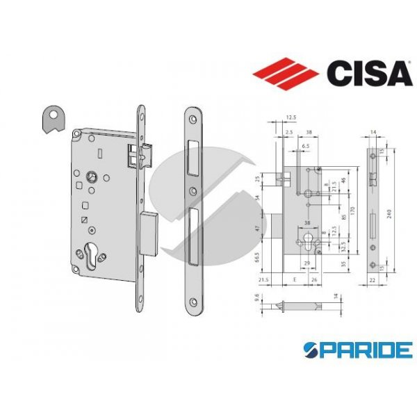 SERRATURA INFILARE E 60 5C63160047 CILINDRO BRONZA...