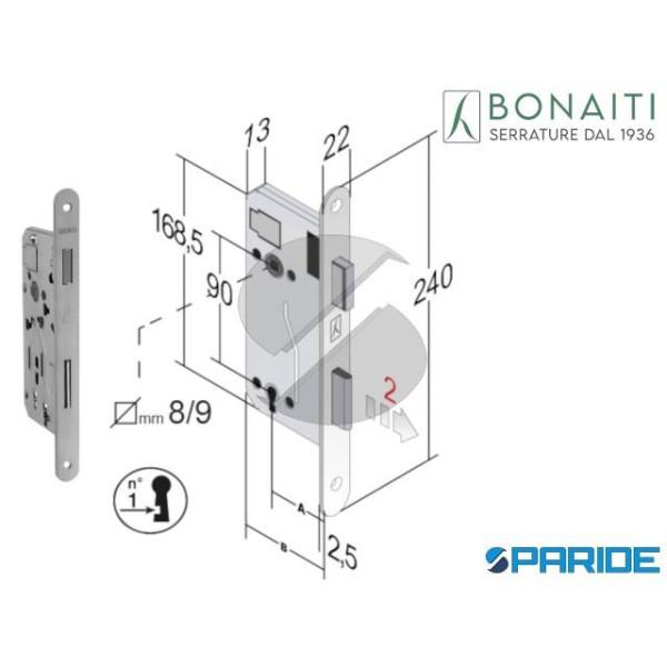SERRATURA MAGNETICA E 40 E40 B-EVO BONAITI CROMO S...