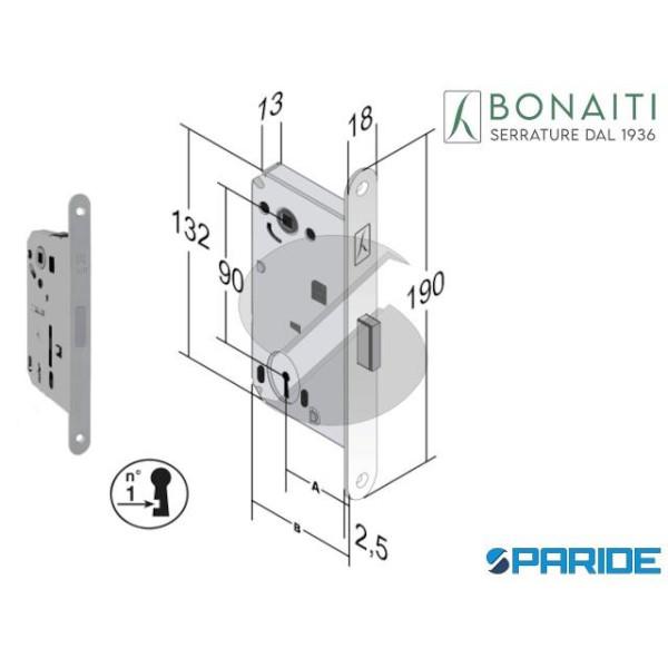 SERRATURA MAGNETICA E 50 N60 B FORTY BONAITI CROMO...