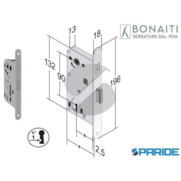 SERRATURA MAGNETICA E 50 N65 B FORTY BONAITI CROMO...