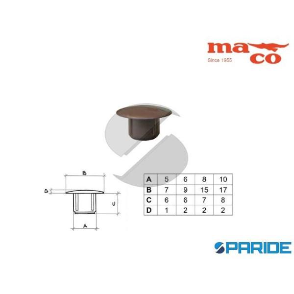 TAPPO COPRIFORO D 8 MM 0518 MARRONE PLASTICA MACO