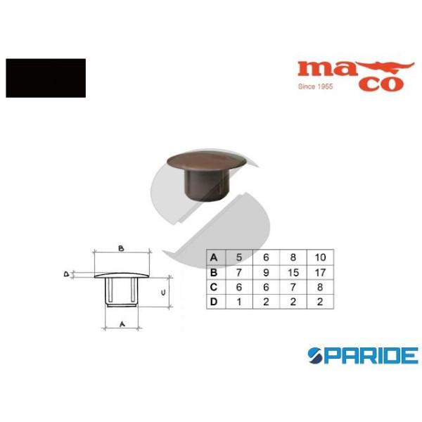 TAPPO COPRIFORO D 8 MM 0518 NERO PLASTICA MACO